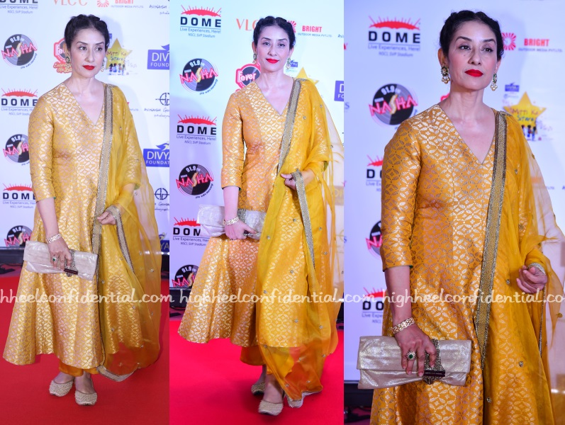 10c26edade At an event on Saturday evening, Manisha was seen in a Raw Mango kurta  paired with jootis and a Jimmy Choo clutch. Loved the yellow separates, ...
