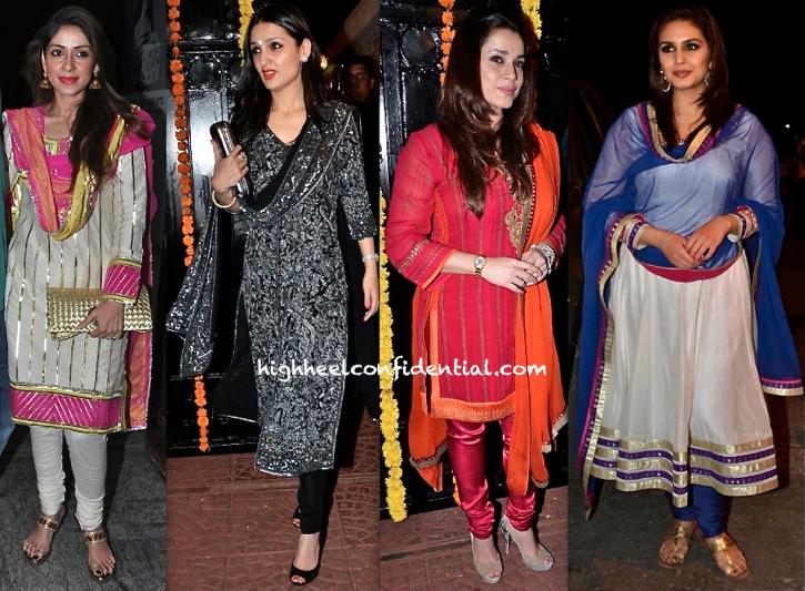 Bhavna Pandey, Anu Dewan, Neelam Kothari And Huma Qureshi At Ekta Kapoor's Diwali Bash-1