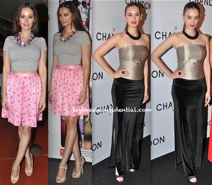Evelyn Sharma In Nishka Lulla At 'Yaariyan' Trailer Launch And In Harsh Harsh At Chandon Launch Event
