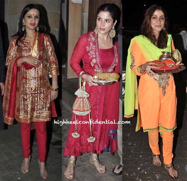 anu dewan-maheep kapoor-bhavna pandey-karva chauth celebrations 2014-1