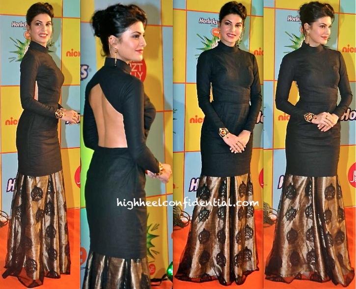 Jacqueline Fernandez In Nikhil Thampi And Manish Arora For Amrapali Jewelry At Nickelodeon India Awards 2013-1