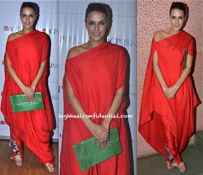 Neha Dhupia Takes In A Play (Battle Of The Sexes) Wearing Anamika Khanna-1