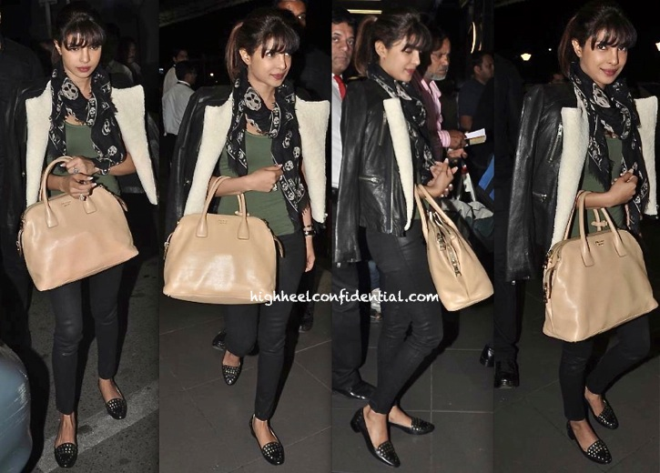 Priyanka Chopra Photographed At The Airport In McQueen Scarf