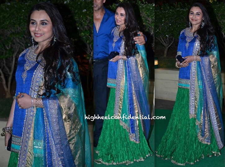 Rani Mukherjee In Anuradha Vakil At Vishesh Bhatt And Kanika Parab's Wedding Reception-2