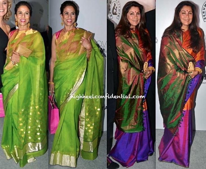 Shobhaa De And Dimple Kapadia At amfAR India Gala-1