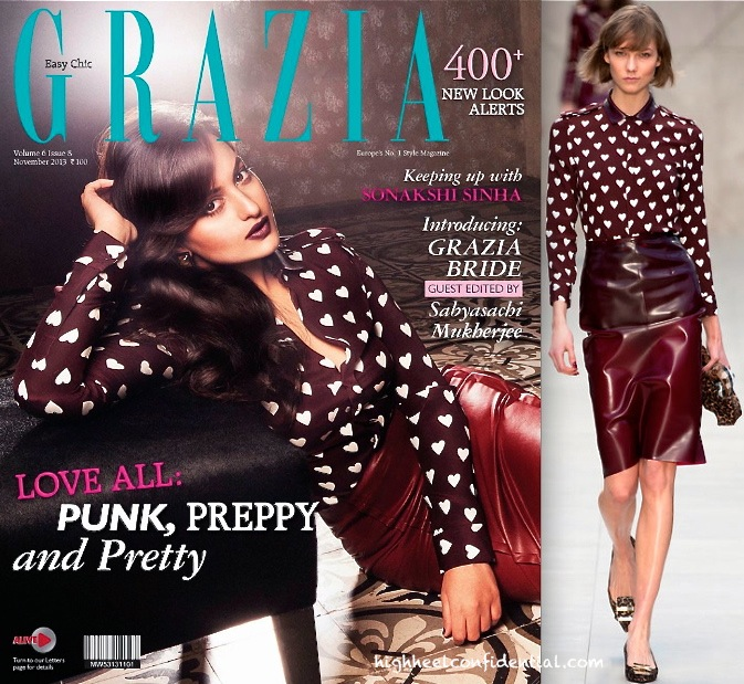 Sonakshi Sinha In Burberry for grazia november 2013