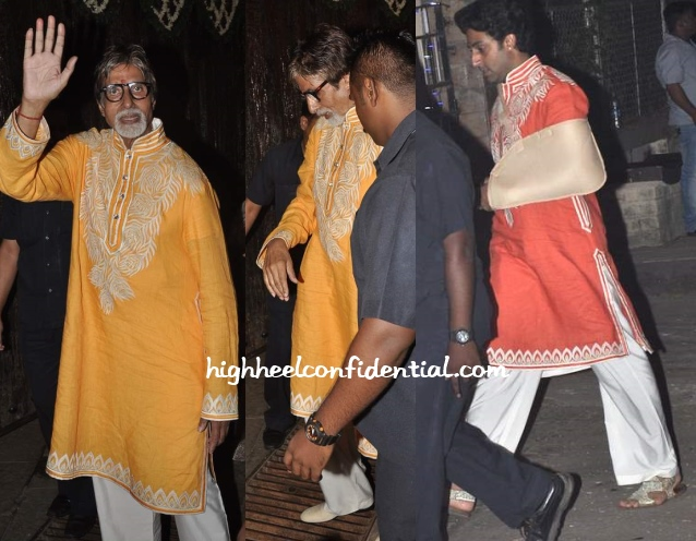 abhishek-bachchan-amitabh-diwali-abu-sandeep-matching-kurtas