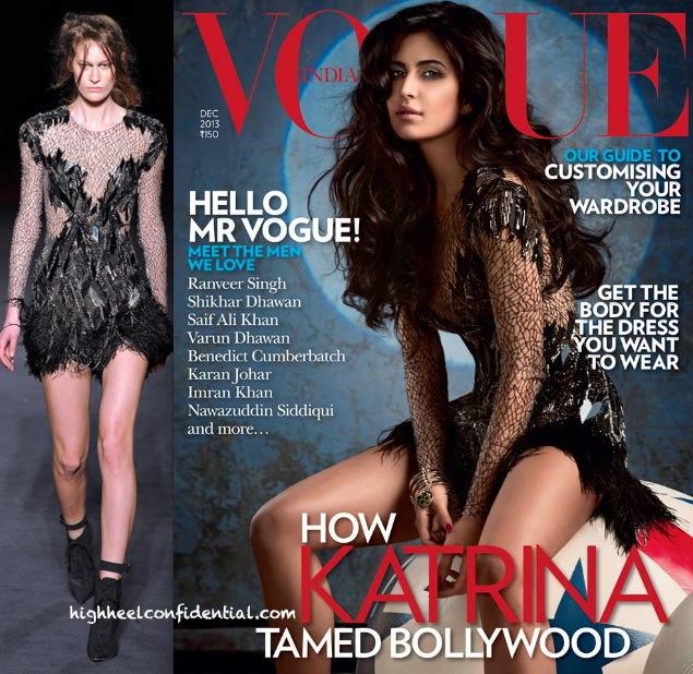 Katrina Kaif On Vogue Dec '13 Cover In Julien MacDonald