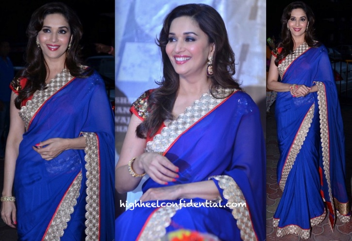 Madhuri Dixit In Jade By Monica And Karishma At 'Dedh Ishqiya' Music Launch-1