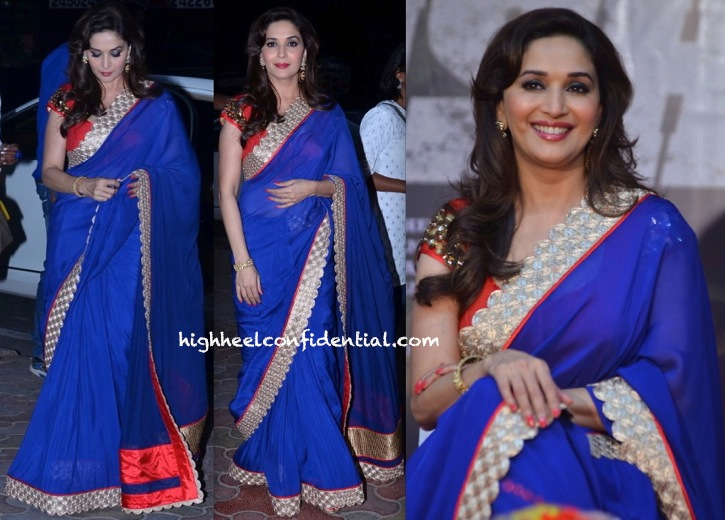 Madhuri Dixit In Jade By Monica And Karishma At 'Dedh Ishqiya' Music Launch-2