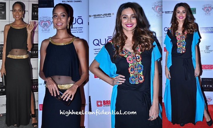 lisa haydon and shibani dandekar at irfw 2013-surily goel-malini ramani