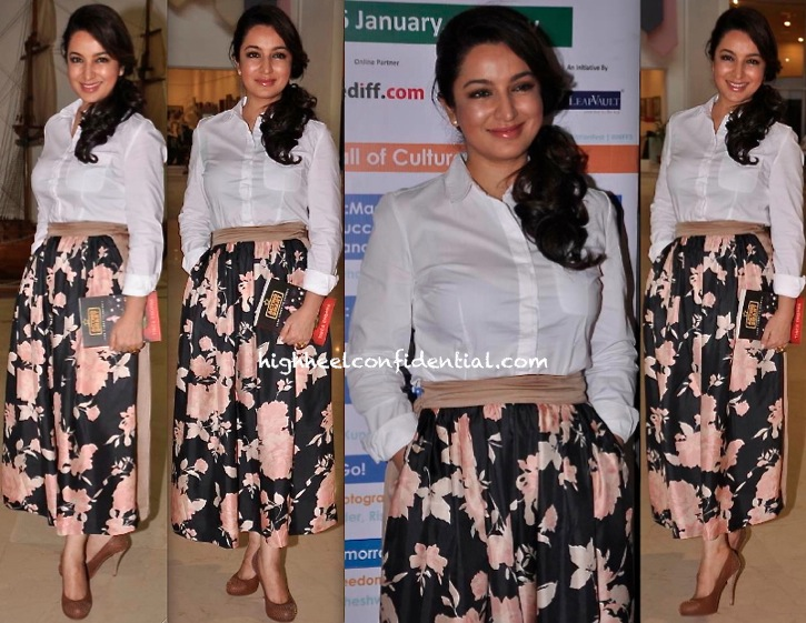 Tisca Chopra Wears Shift By Nimish Shah At The Launch Of Her Book