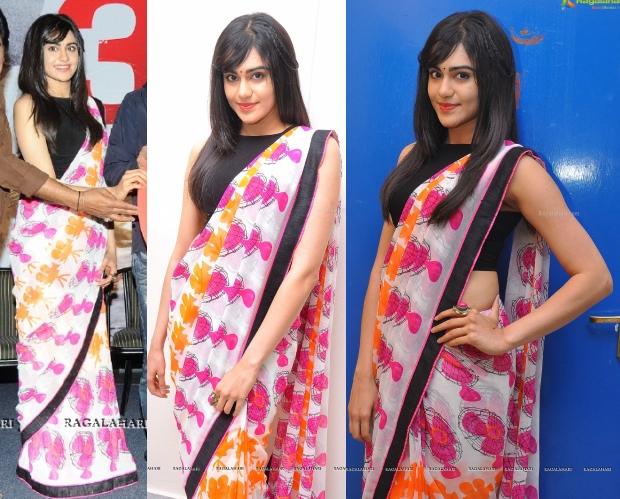 adah-sharma-heart-attack-audio-success-meet-fan-print-sari