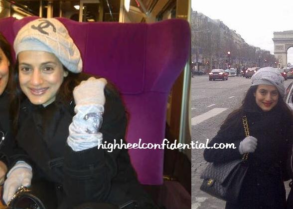 ameesha-patel-chanel-amsterdam-gloves-cap