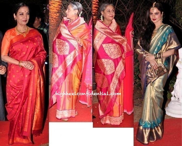 ahana deol-vaibhav vora wedding reception-jaya bachchan-rekha-shabana azmi
