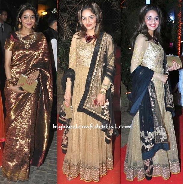 ahana deol-vaibhav vora wedding reception-madhoo shah-sabyasachi
