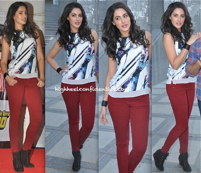 Nargis Fakhri In Zara At 'Main Tera Hero' Promotions