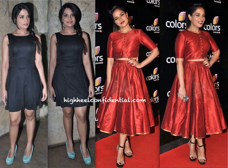 Richa Chadda In KSTJ By Kshitij Kankaria At Queen Screening And In Prevasu At Colors TV Party