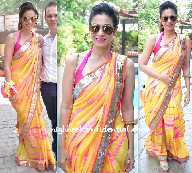 Shaheen Abbas In A Mandira Bedi Sari While At A Recent inch by inch Brunch