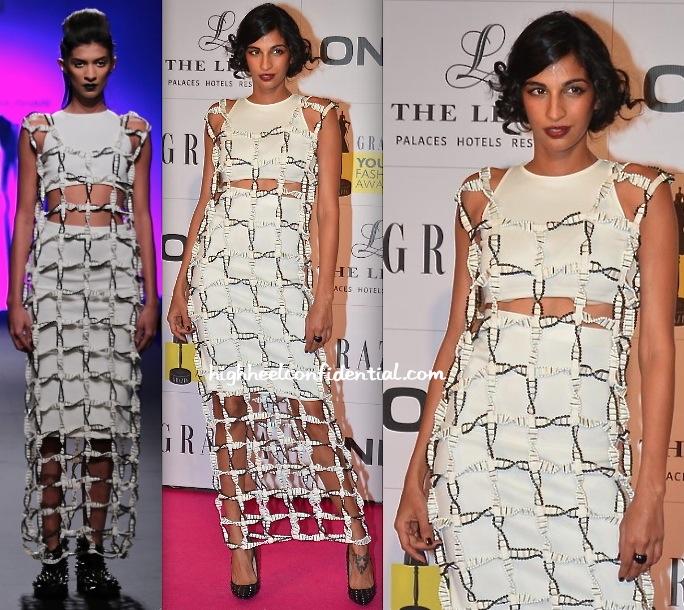 Anushka Manchanda In Anand Bhushan At Grazia Young Fashion Awards 2014