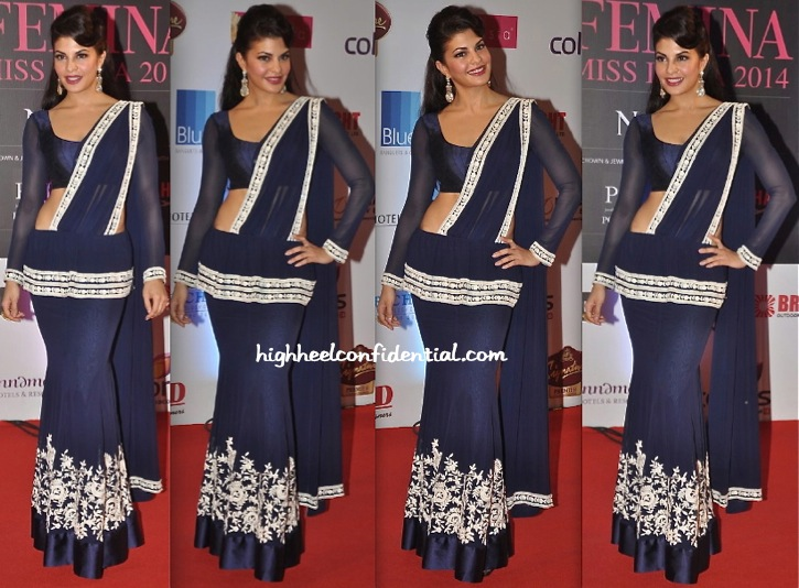 Jacqueline Fernandez In Manish Malhotra At Femina Miss India 2014 Pageant-1