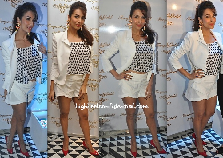 Malaika Arora Khan Wears Turquoise & Gold To The Label's Store Launch