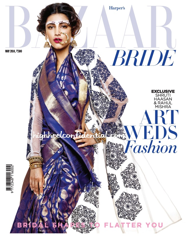 shruti-haasan-harpers-bazaar-may-2014-rahul-mishra-cover