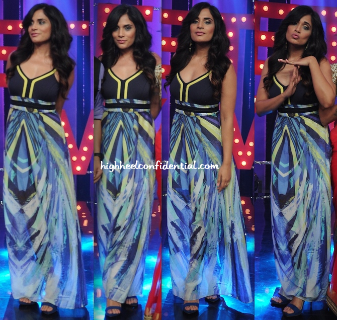 Richa Chadda In Marc Cain On 'Ticket to Bollywood' Sets