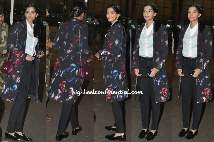 Sonam Kapoor (In Elie Saab) Photographed At The Airport As She Heads To Cannes-1