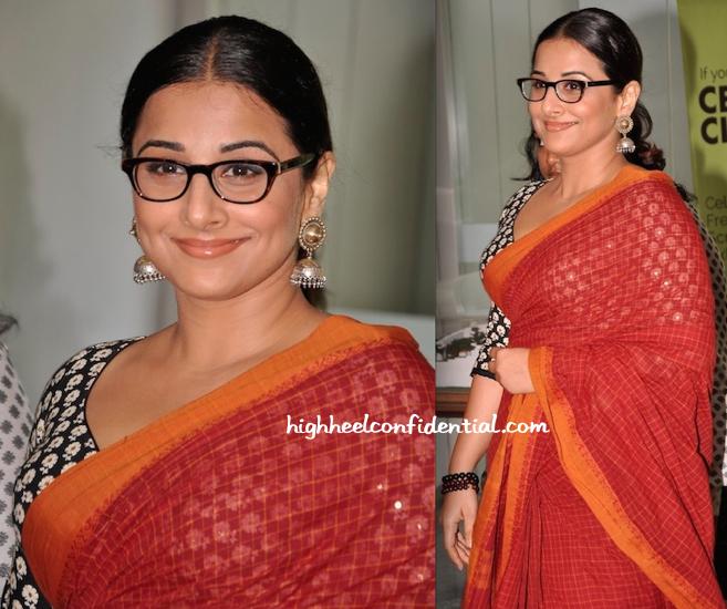 vidya balan at celebrate cinema event in red sari