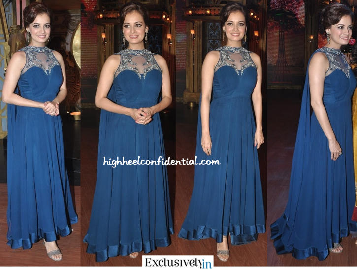 Dia Mirza In Gaurav Gupta On The Sets Of 'Entertainment Ke Liye...' For 'Bobby Jasoos' Promotions-1