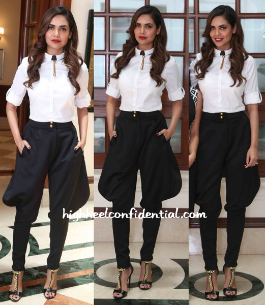 Esha Gupta Wears Zara And Pankaj And Nidhi To 'Humshakals' Promotions