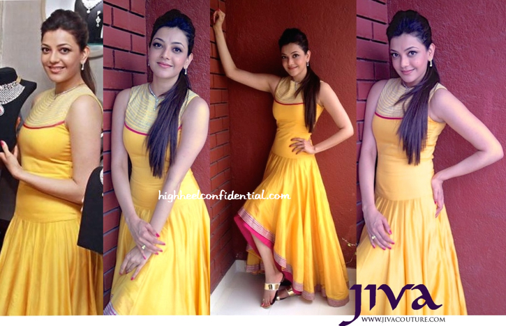 Kajal Aggarwal In SVA By Sonam And Paras Modi At A Jewelry Store Launch, Bangalore