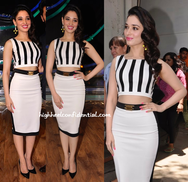 Tamannaah Bhatia In Farah Sanjana And Valliyan On 'DID' Sets For 'Humshakals' Promotions-2