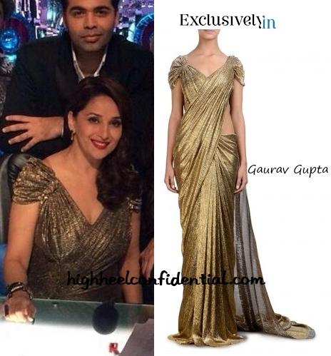madhuri-dixit-gaurav-gupta-jhalak-dikhhla-jaa-gold-gown
