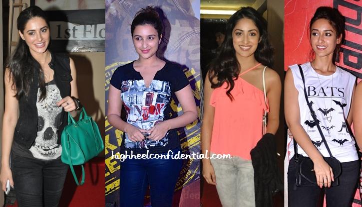 Nargis Fakhri, Ileana D'Cruz, Yami Gautam And Parineeti Chopra At Lekar Hum Deewana Dil Premiere-2