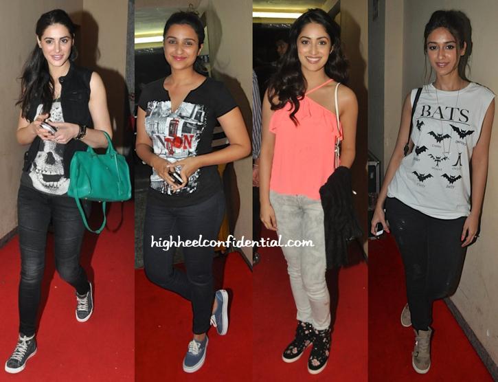 Nargis Fakhri, Ileana D'Cruz, Yami Gautam And Parineeti Chopra At Lekar Hum Deewana Dil Premiere