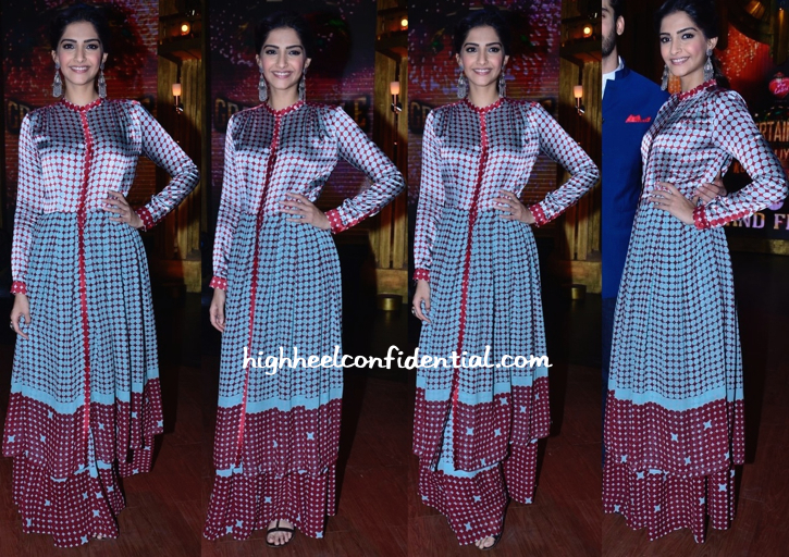 Sonam Kapoor (In Dev R Nil) Promotes 'Khoobsurat' On 'Entertainment Ke Liye Kuch Bhi Karega' Sets-1