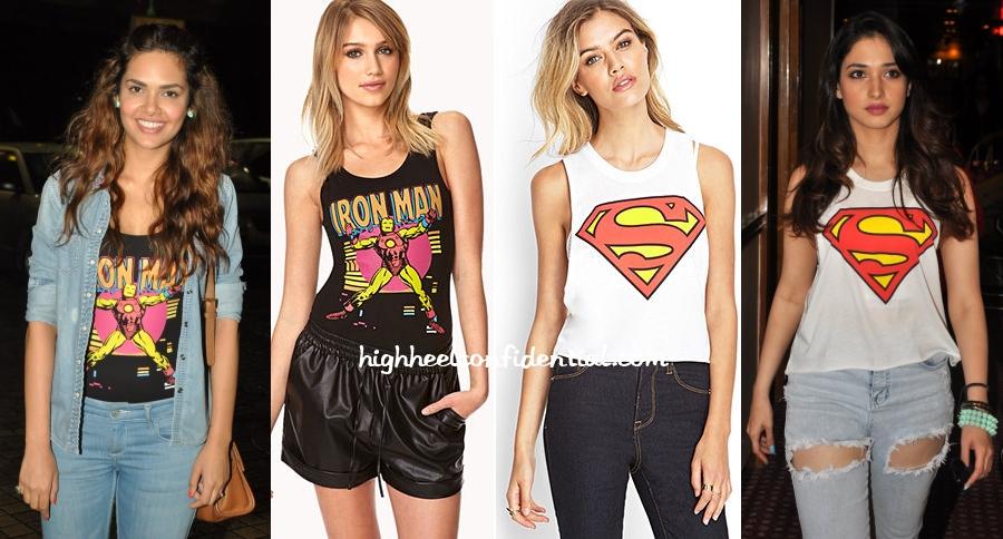 esha-gupta-tamannaah-forever-21-superman-ironman-1