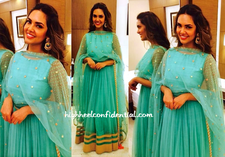 Esha Gupta Wears Mehvish And Amrapali To Janmashtami Celebrations