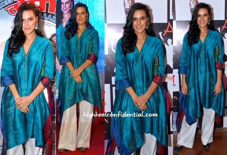 Neha Dhupia In Payal Khandwala At 'Ekkees Toppon Ki Salaami' Promotions