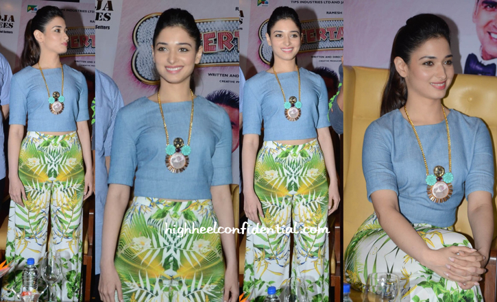 Tamannaah Bhatia Wears Alice + Olivia And Valliyan To Promote 'Entertainment' In Hyderabad-2