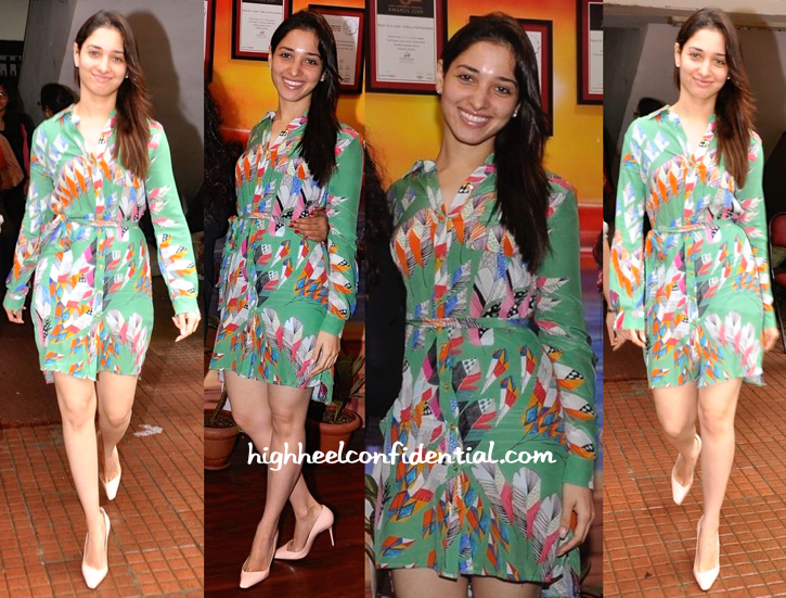Tamannaah Bhatia Wears Turquoise & Gold To 'Entertainment' Promotions