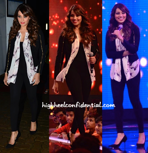 Bipasha Basu In Varun Bahl On The Sets Of 'India's Raw Star' for creature promotions