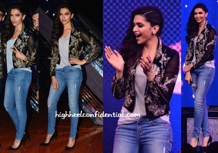 Deepika Padukone Wears Falguni And Shane Peacock To India's Raw Star Sets For Finding Fanny Promotions-1