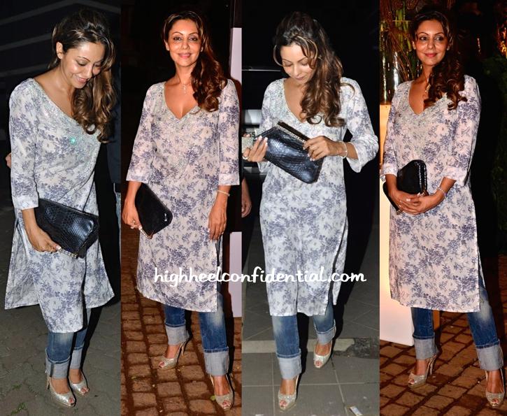 Gauri Khan In Monisha Jaising At simone store launch and at sanjay kapoor's bash-1