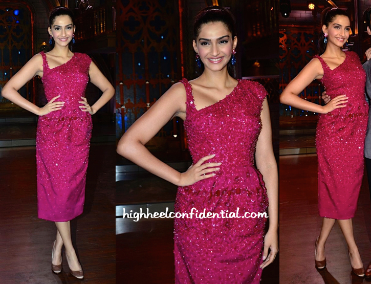 Sonam Kapoor Wears Bibhu Mohapatra To Cinestars Ki Khoj Sets For Khoobsurat Promotions-2