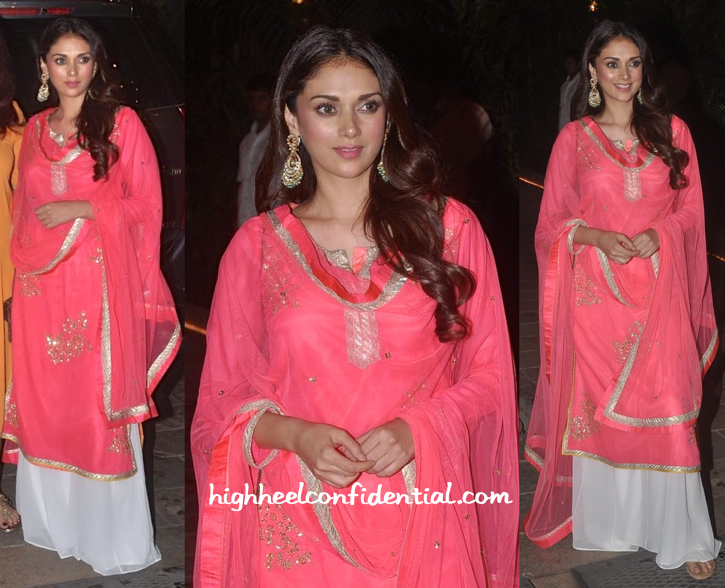 Aditi Rao Hydari In Amrita Thakur At Bachchans' Diwali Bash