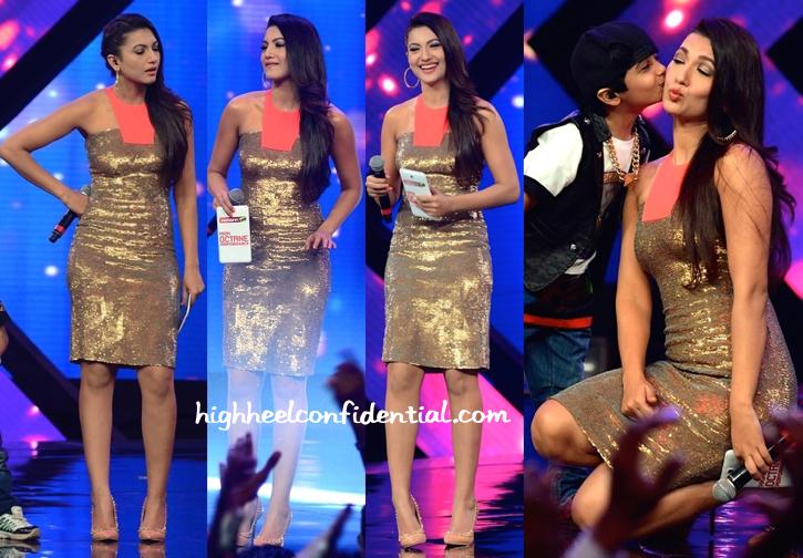 Gauahar Khan In Namrata Joshipura On 'India's Raw Star' Sets