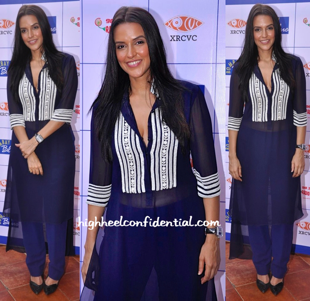 Neha Dhupia In Manish Malhotra At Bombay Blues Menu Launch